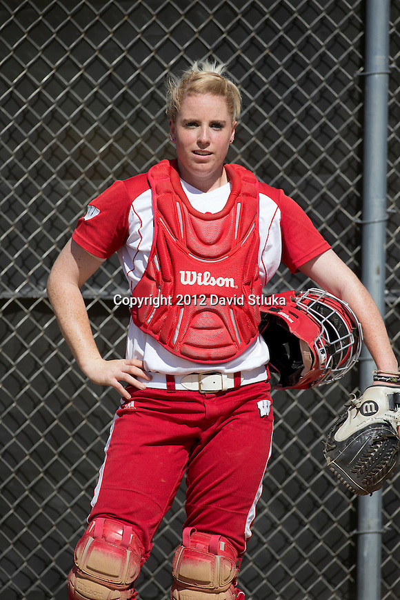 Wisconsin Badgers catcher Whitney Massey (2) warms up prior to an NCAA women's softball game against the Green Bay Phoenix Saturday, September 29, 2012 in Madison, Wis. Wisconsin won 3-1. (Photo by David Stluka)