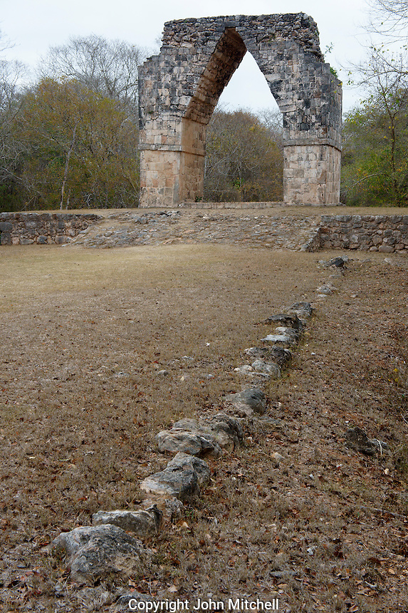 The Arch or El Arco, gateway to the Mayan ruins of Kabah, Yucatan, Mexico.