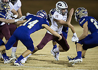 NWA Democrat-Gazette/BEN GOFF @NWABENGOFF<br /> Trey Rucker (11) of Prescott runs the ball in the first quarter vs Booneville Saturday, Dec. 1, 2018, during the class 3A state semifinal game at Bearcat Stadium in Booneville.