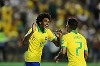 29th October 2019; Bezerrao Stadium, Brasilia, Distrito Federal, Brazil; FIFA U-17 World Cup Brazil 2019, Brazil versus New Zealand; Talles Magno of Brazil celebrates his goal with Veron in the 80th minute, 2-0