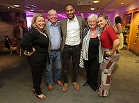 Pictured: Kate Rees (L) with her parents and Ashley Williams Thursday 08 April 2016<br />Re: Zimkids dinner at the Liberty Stadium, Swansea, UK