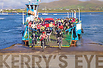 Some of the 130 cyclists who took part in the cycle from Kells to Valentia in aid of Valentia Lifeboat, pictured here getting off the ferry from Renard.