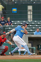 Myrtle Beach Pelicans infielder Jacob Rogers (27) at bat during a game against the Salem Red Sox at Ticketreturn.com Field at Pelicans Ballpark on May 6, 2015 in Myrtle Beach, South Carolina.  Myrtle Beach defeated Salem 4-2. (Robert Gurganus/Four Seam Images)