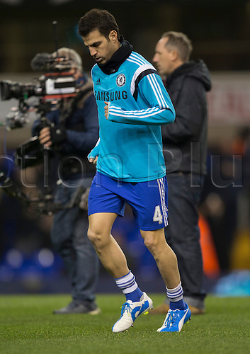 01.01.2015.  London, England. Barclays Premier League. Tottenham versus Chelsea. Chelsea's Cesc Fàbregas warms up before the game.