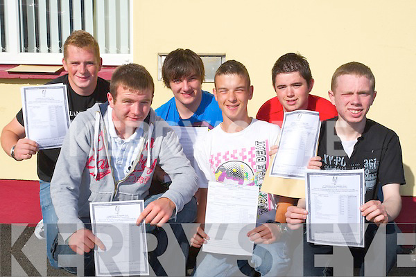 WAIT IS OVER: The wait is over for some of the students of St Josephs Secondry School, Ballybunion on Wednesday morning as they were happyu with their leaving cert results, Front l-r: Darran Gogarty (Lisselton), James Keane (Ballyduff) and Keith Francis (Ballybunion). Back l-r: PJ Butler, Charlie McCarthy and Ryan O'Connor (Ballybunion)...