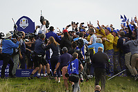 Francesco Molinari (Team Europe) celebrates the winning point on the 16th during the singles matches at the Ryder Cup, Le Golf National, Ile-de-France, France. 30/09/2018.<br /> Picture Fran Caffrey / Golffile.ie<br /> <br /> All photo usage must carry mandatory copyright credit (© Golffile | Fran Caffrey)