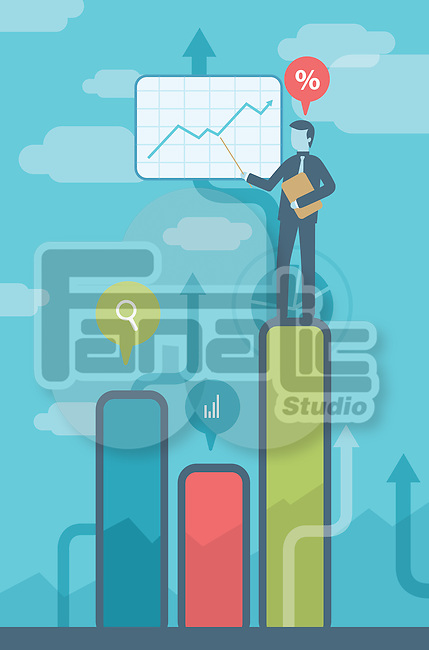 Illustrative image of businessman on bar graph giving presentation representing profit