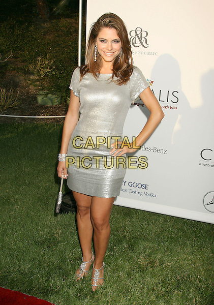 MARIA MENOUNOS.Sixth Annual Chrysalis Butterfly Ball held at the Home of Susan Harris and Hayward Kaiser, Mandeville Canyon, California, USA, 02 June 2007..full length silver grey dress hand on hip.CAP/ADM/RE.©Russ Elliot/AdMedia/Capital Pictures. *** Local Caption *** ..