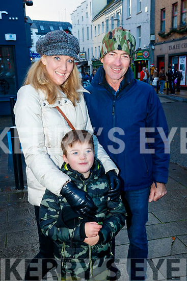 Pictured at the CH Chemist Santa parade, Tralee on Saturday afternoon last were l-r: Claire, Diarmuid and Mossie Lawlor, Kilmoyley.