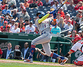 New York Mets shortstop Amed Rosario (1) strikes out swinging in the first inning against the Washington Nationals at Nationals Park in Washington, DC on March 30, 2018.<br /> Credit: Ron Sachs / CNP<br /> (RESTRICTION: NO New York or New Jersey Newspapers or newspapers within a 75 mile radius of New York City)