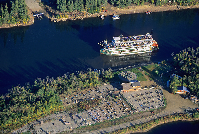 Aerial of the sternwheeler Riverboat Discovery on the Chena River in Fairbanks.