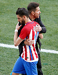 Atletico de Madrid's coach Diego Pablo Cholo Simeone with Yannick Ferreira Carrasco during La Liga match. March 19,2017. (ALTERPHOTOS/Acero)