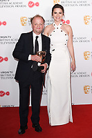 Toby Jones and Hayley Atwell in the winners room for the BAFTA TV Awards 2018 at the Royal Festival Hall, London, UK. <br /> 13 May  2018<br /> Picture: Steve Vas/Featureflash/SilverHub 0208 004 5359 sales@silverhubmedia.com