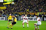 09.03.2019, Signal Iduna Park, Dortmund, GER, 1.FBL, Borussia Dortmund vs VfB Stuttgart, DFL REGULATIONS PROHIBIT ANY USE OF PHOTOGRAPHS AS IMAGE SEQUENCES AND/OR QUASI-VIDEO<br /> <br /> im Bild   picture shows:<br /> Pass in die Spitze von Paco Alcacer (Borussia Dortmund #9), <br /> <br /> Foto &copy; nordphoto / Rauch