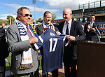 From left, Reno Aces owner Herb Simon, Reno Aces Team President Eric Edelstein, United Soccer League President Jake Edwards and Gov. Brian Sandoval participate in a ceremony announcing the addition of a United Soccer League franchise in Reno, Nev., on Wednesday, Sept. 16, 2015 at the Aces Ballpark. <br /> Photo by Cathleen Allison
