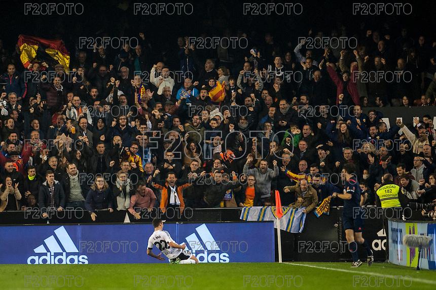 VALENCIA, SPAIN - DECEMBER 5: Santi Mina celebrating his goal during BBVA LEAGUE match between Valencia C.F. and FC Barcelona at Mestalla Stadium on December 5, 2015 in Valencia, Spain