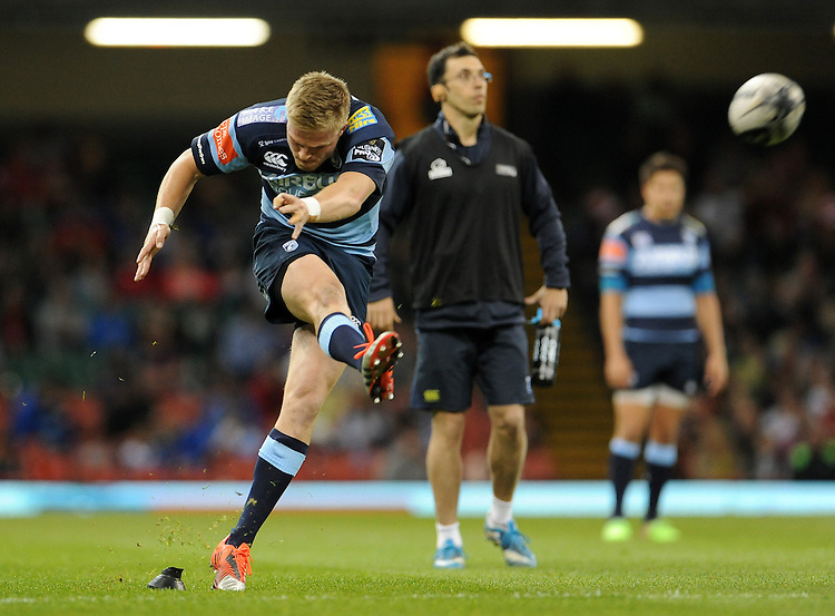 Cardiff Blues' Gareth Anscombe kicks a penalty<br /> <br /> Photographer Ian Cook/CameraSport<br /> <br /> Rugby Union - Guinness PRO12 - Saturday 25th April 2015 - Cardiff Blues v Ospreys - Millennium Stadium - Cardiff<br /> <br /> &copy; CameraSport - 43 Linden Ave. Countesthorpe. Leicester. England. LE8 5PG - Tel: +44 (0) 116 277 4147 - admin@camerasport.com - www.camerasport.com