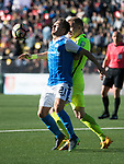 FK Trakai v St Johnstone…06.07.17… Europa League 1st Qualifying Round 2nd Leg, Vilnius, Lithuania.<br />Stefan Scougall and Modestas Vorobjovas<br />Picture by Graeme Hart.<br />Copyright Perthshire Picture Agency<br />Tel: 01738 623350  Mobile: 07990 594431