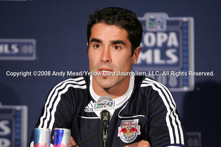 22 November 2008: New York Red Bull forward Juan Pablo Angel (COL) held a press conference at the Home Depot Center in Carson, California the day before his team played in MLS Cup 2008, Major League Soccer's championship game.