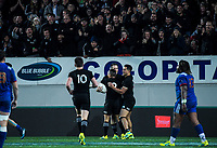 The All Blacks celebrate Ben Smith's try during the Steinlager Series international rugby match between the New Zealand All Blacks and France at Eden Park in Auckland, New Zealand on Saturday, 9 June 2018. Photo: Dave Lintott / lintottphoto.co.nz
