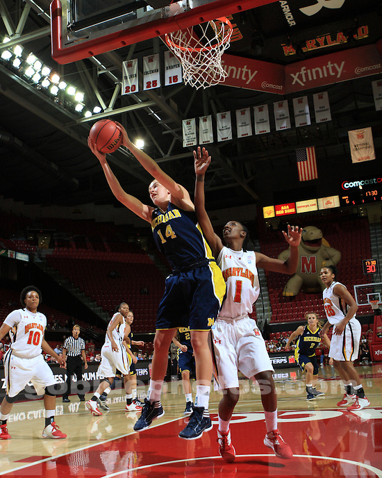 The University of Michigan women's basketball team lost to No. 6 University of Maryland in the ACC/Big Ten Challenge in College Park, Md., on November 30, 2011.