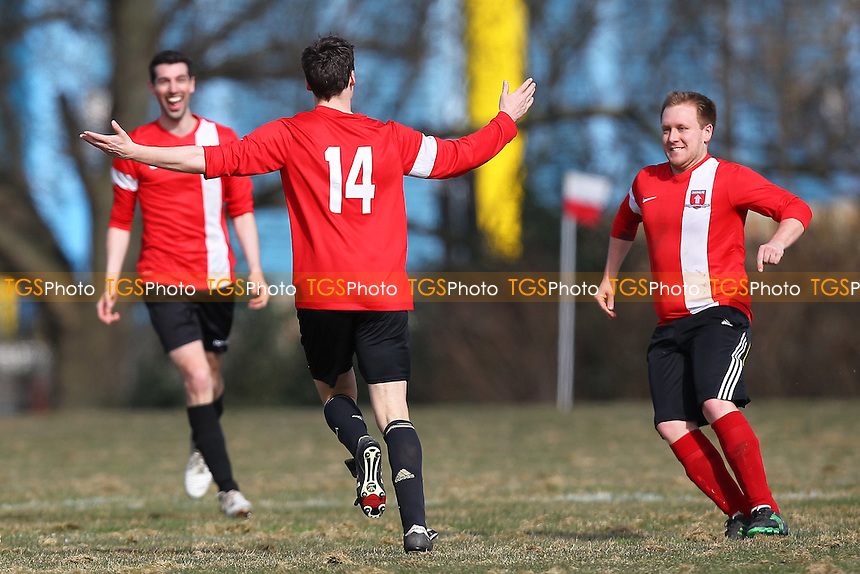 Top Red celebrate their first goal - Boroughs United (yellow) vs Top Red - Hackney & Leyton Sunday League Junior Cup Semi-Final Football at East Marsh, Hackney Marshes, London - 08/03/15 - MANDATORY CREDIT: Gavin Ellis/TGSPHOTO - Self billing applies where appropriate - 0845 094 6026 - contact@tgsphoto.co.uk - NO UNPAID USE