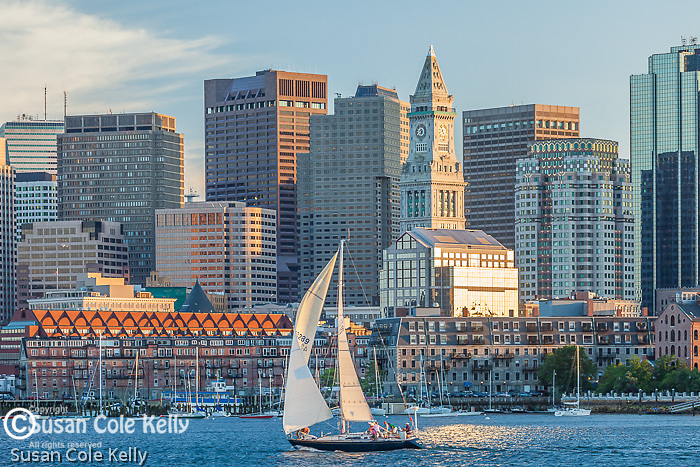 Sunset sails on Boston Harbor, Boston, MA, USA