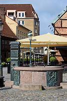 Brunnen auf dem Lilla Torg in Malmo, Provinz Skåne (Schonen), Schweden, Europa<br /> fountain  on Lilla Torg in Malmo, Sweden