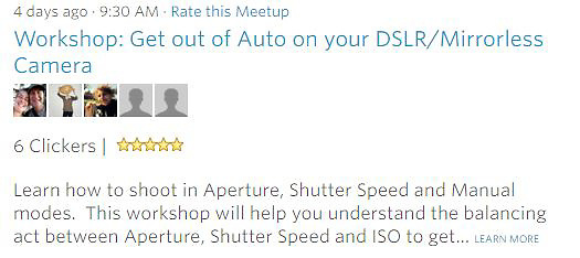 Meetup Workshop- Learn how to shoot in Aperture, Shutter Speed and Manual modes.  This workshop will help you understand the balancing act between Aperture, Shutter Speed and ISO to get... LEARN MORE<br /> Workshops are held regular, drop us an email to find out when the next workshop will be held. <br /> <br /> See what other attendees have to same about our workshops -http://www.meetup.com/Travel-Photography-Meetup/about/comments/?op=all