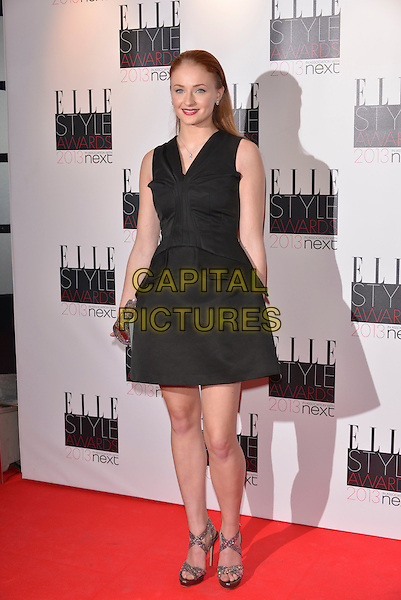 Sophie Turner.The Elle Style Awards 2013 arrivals, The Savoy Hotel, London, England..11th February 2013.full length black sleeveless dress  .CAP/PL.©Phil Loftus/Capital Pictures