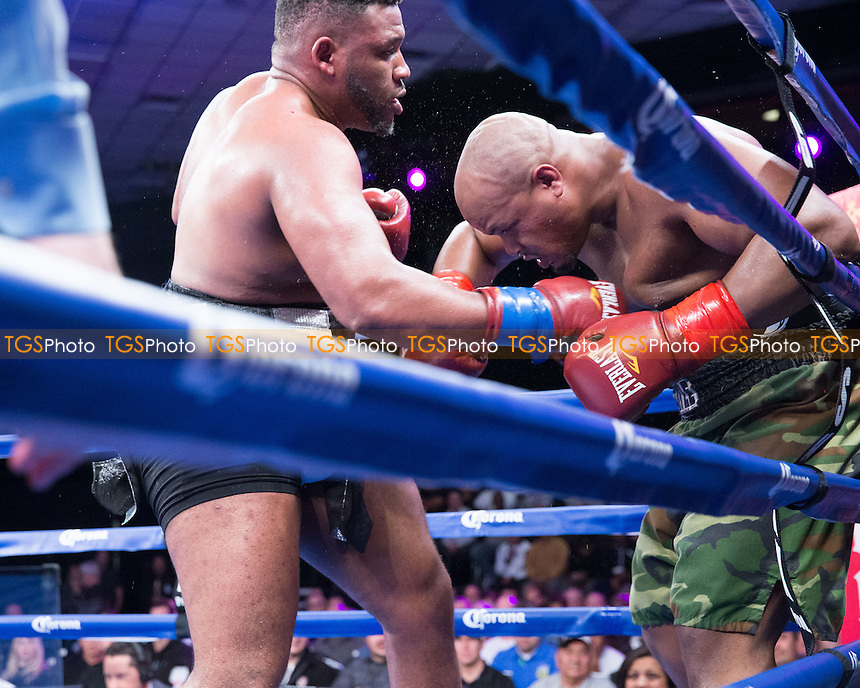 Jarrell Miller defeated Aaron Kinch in their heavyweight bout on ESPN Friday Night Fights at the Chumash Casino Resort & Spa in Santa Ynez, California, promoted by Gary Shaw Promotions - 09/01/15 - MANDATORY CREDIT: Dwight McCann/TGSPHOTO - Self billing applies where appropriate - 0845 094 6026 - contact@tgsphoto.co.uk - NO UNPAID USE