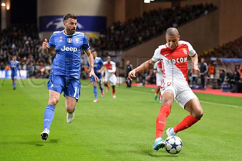 May 3rd 2017, Stade Louis II, Monaco,France; UEFA Champions league football semi-final, AS Monaco versus Juventus;  KYLIAN MBAPPE (mon) shields the ball from Andrea Barzagli (juv)