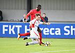 2018-06-22 / Voetbal / Seizoen 2018-2019 / Hoogstraten VV - R. Antwerp FC / Senne Van Dooren (Hoogstraten) met William Owusu<br /> <br /> ,Foto: Mpics