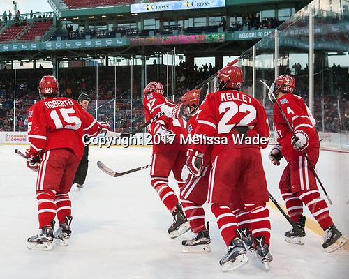 Nick Roberto (BU - 15), Jack Millea, Dante Fabbro (BU - 17), Gabriel Chabot (BU - 10), Tommy Kelley (BU - 22), Brandon Hickey (BU - 4) - The Boston University Terriers defeated the University of Massachusetts Minutemen 5-3 on Sunday, January 8, 2017, at Fenway Park in Boston, Massachusetts.The Boston University Terriers defeated the University of Massachusetts Minutemen 5-3 on Sunday, January 8, 2017, at Fenway Park.