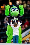 24 August 2019: Vermont Lake Monsters Mascot Champ entertains a young fan during a game against the Lowell Spinners at Centennial Field in Burlington, Vermont. The Lake Monsters fell to the Spinners 3-2 in NY Penn League action. Mandatory Credit: Ed Wolfstein Photo *** RAW (NEF) Image File Available ***