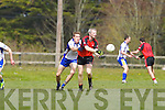 Kevin Wrenn of Tarbert releases the ball watched on by Keel's Kevin Wrenn last Sunday afternoon in Shannon Park, Tarbert.