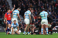 England's Mike Brown is injured during todays game <br /> <br /> Photographer Rachel Holborn/CameraSport<br /> <br /> International Rugby Union Friendly - Old Mutual Wealth Series Autumn Internationals 2017 - England v Argentina - Saturday 11th November 2017 - Twickenham Stadium - London<br /> <br /> World Copyright &copy; 2017 CameraSport. All rights reserved. 43 Linden Ave. Countesthorpe. Leicester. England. LE8 5PG - Tel: +44 (0) 116 277 4147 - admin@camerasport.com - www.camerasport.com