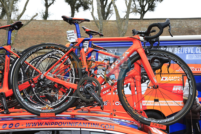 Nippo-Vini Fantini team De Rosa Protos bikes on the team car before the start of the 2017 Strade Bianche running 175km from Siena to Siena, Tuscany, Italy 4th March 2017.<br /> Picture: Eoin Clarke | Newsfile<br /> <br /> <br /> All photos usage must carry mandatory copyright credit (&copy; Newsfile | Eoin Clarke)