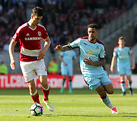 Burnley's Andre Gray chases down Middlesbrough's Bernardo Espinosa<br /> <br /> Photographer David Shipman/CameraSport<br /> <br /> The Premier League - Middlesbrough v Burnley - Saturday 8th April 2017 - Riverside Stadium - Middlesbrough<br /> <br /> World Copyright &copy; 2017 CameraSport. All rights reserved. 43 Linden Ave. Countesthorpe. Leicester. England. LE8 5PG - Tel: +44 (0) 116 277 4147 - admin@camerasport.com - www.camerasport.com
