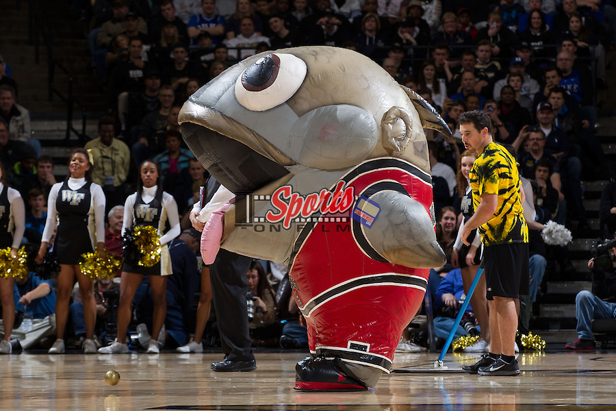 """Zooperstars character """"Makerel Jordan"""" entertains the fans during a timeout in the ACC men's basketball game between the Duke Blue Devils and the Wake Forest Demon Deacons at the LJVM Coliseum on January 7, 2015 in Winston-Salem, North Carolina.  The Blue Devils defeated the Demon Deacons 73-65.  (Brian Westerholt/Sports On Film)"""