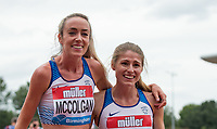 Eilish McCOLGAN (left) & Rosie CLARKE of GBR after there 3000m race during the Muller Grand Prix Birmingham Athletics at Alexandra Stadium, Birmingham, England on 20 August 2017. Photo by Andy Rowland.