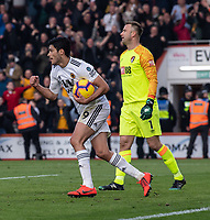 Wolverhampton Wanderers' Raul Jimenez (left) celebrates scoring his side's first goal with a kick from the penalty spot<br /> <br /> Photographer David Horton/CameraSport<br /> <br /> The Premier League - Bournemouth v Wolverhampton Wanderers - Saturday 23 February 2019 - Vitality Stadium - Bournemouth<br /> <br /> World Copyright © 2019 CameraSport. All rights reserved. 43 Linden Ave. Countesthorpe. Leicester. England. LE8 5PG - Tel: +44 (0) 116 277 4147 - admin@camerasport.com - www.camerasport.com