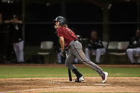 AZL Diamondbacks designated hitter L.T. Tolbert (9) starts down the first base line during an Arizona League game against the AZL White Sox at Camelback Ranch on July 12, 2018 in Glendale, Arizona. The AZL Diamondbacks defeated the AZL White Sox 5-1. (Zachary Lucy/Four Seam Images)