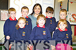 Teacher Elaine Joy with Aalayia O'Sullivan, Ciara Ni She, Natasha Grey, Cian O'Connor, Seamus Curran, Aaron Lenehan and Darragh O'Se pictured enjoying their first days in Cillin Liath national School in Dromid.   Copyright Kerry's Eye 2008