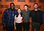 Brian Tyree Henry, Bel Powley, Michael Cera and Chris Evans backstage at  the Second Stage Theater Broadway lights up the Hayes Theatre at the Hayes Theartre on February 5, 2018 in New York City.