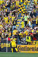 24 OCTOBER 2010:  Columbus Crew forward Emilio Renteria (20) celebrates his goal by making a shoe call during MLS soccer game against the Philadelphia Union at Crew Stadium in Columbus, Ohio on August 28, 2010.