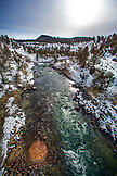 USA, Wyoming, Yellowstone National Park, elevated view of the Yellowstone River at the head of the Lamar Valley near Tower Junction