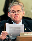 United States Senator Robert Menendez (Democrat of New Jersey) looks over his notes during the U.S. Senate Committee on Energy and Natural Resources hearing to review current issues related to offshore oil and gas development including the Department of the Interior's recent five year planning announcements and the accident in the Gulf of Mexico involving the offshore oil rig Deepwater Horizon in Washington, D.C. on Tuesday, May 11, 2010..Credit: Ron Sachs / CNP