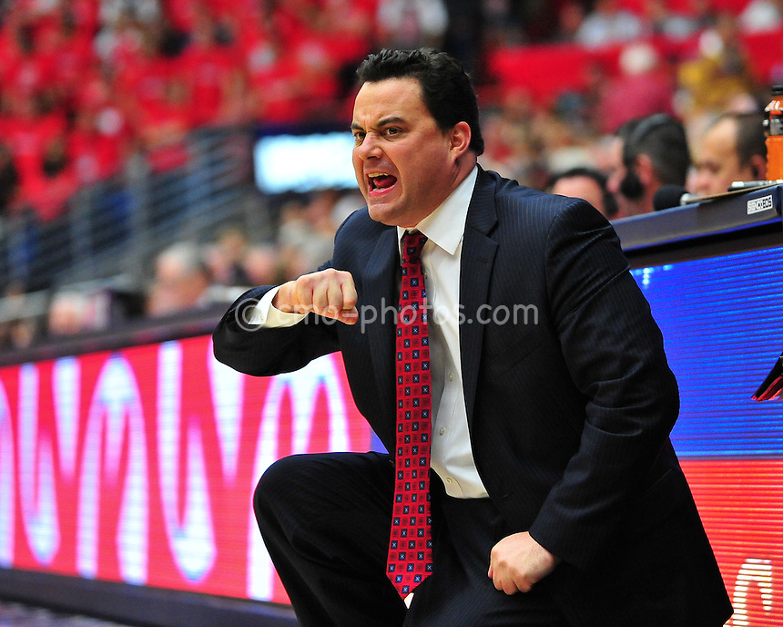 Jan 15, 2011; Tucson, AZ, USA; Arizona Wildcats head coach Sean Miller gestures to an official in the 1st half of a game against the Arizona State Sun Devils at the McKale Center.  The Wildcats won the game 80-69.