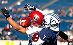 """November 23, 2019:  #7 Melvin Rose comes up huge for the Bulldogs in a stunning comeback that mirrored 1968. The Yale Bulldogs defeat Harvard in double """"OT"""" 50-43.  Yale came from down 17 late in the fourth quarter, including recovering an onside kick with a minute left at the Yale Bowl in New Haven Connecticut.Dan Heary/Eclipse Sportswire/CSM"""